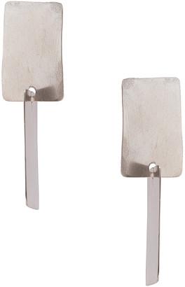 FAY ANDRADA Lohko Square Earrings in Silver   FWRD