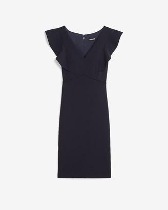 Express Ruffle Sleeve Sheath Dress