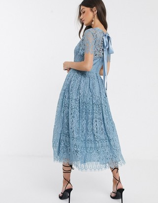 Asos Design DESIGN lace midi dress with ribbon tie and open back-Blue