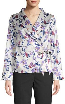 Lea & Viola Floral Pajama Wrap Top