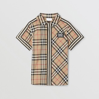 Burberry Childrens Short-sleeve Vintage Check Patchwork Cotton Shirt