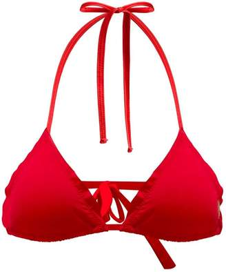 Seareinas Oyster Red Triangle Bikini Top With Ruffle
