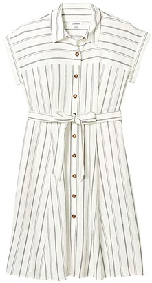 Calvin Klein Short Sleeve Striped Shirtdress with Belt (White/Black) Women's Dress