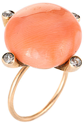 Non Branded 14K 0.20 Ct. Tw. Diamond & Coral Ring