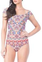 Kenneth Cole Reaction One-Piece Off-Shoulder Mosaic Tubini Swimsuit