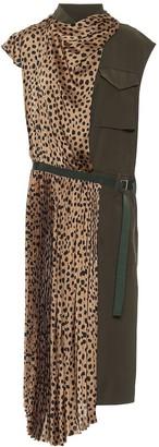 Sacai Leopard-print satin midi dress
