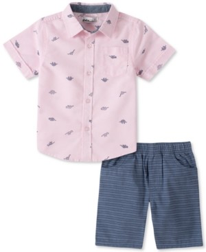 Kids Headquarters Baby Boys 2-Pc. Dino-Print Poplin Shirt & Stripe Oxford Shorts Set