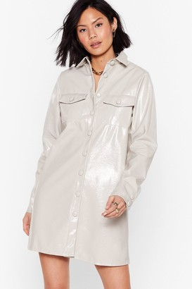 Nasty Gal Womens Vinyl Mini Shirt Dress with Button-Down Closure - Mushroom