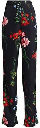Lela Rose Floral Maggie Straight Leg Pants