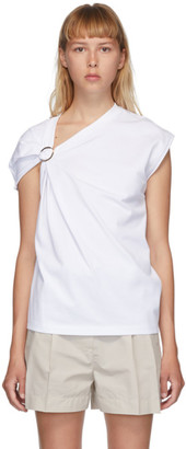 3.1 Phillip Lim White Gathered Shoulder T-Shirt