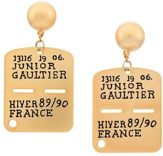 Jean Paul Gaultier Pre-Owned army tag earrings