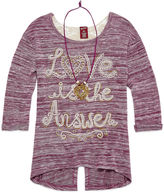 Arizona 3/4 Sleeve Crochet Back Top with Necklace - Girls 7-16 and Plus