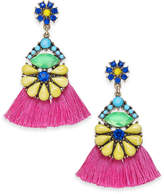 INC International Concepts I.n.c. Gold-Tone Multi-Stone Flower & Tassel Drop Earrings, Created for Macy's