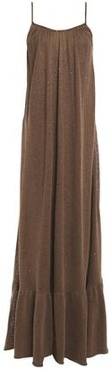 Brunello Cucinelli Open-back Sequin-embellished Linen And Silk-blend Maxi Dress