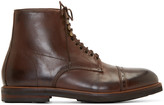 H By Hudson Brown Leather Wantage Boots