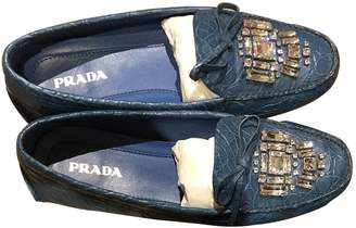 Prada Blue Crocodile Flats