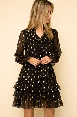 Hem & Thread Metallic Polka Dot Ruffled Dress