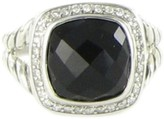 David Yurman Albion 925 Sterling Silver Black Onyx 0.21cts Diamonds Ring Size 7