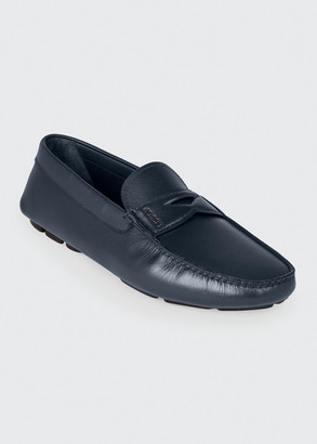Prada Men's Saffiano Leather Penny Drivers
