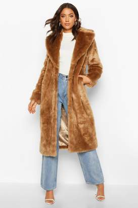 boohoo Tall Long Faux Fur Coat