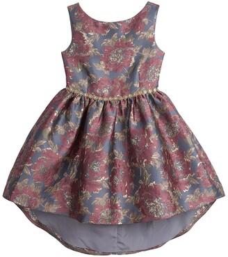 Badgley Mischka Sleeveless Floral Jacquard Dress