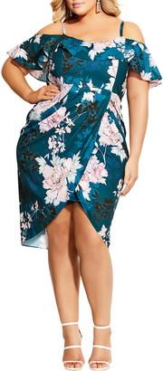 City Chic English Blossom Cold Shoulder Ruffle Sheath Dress