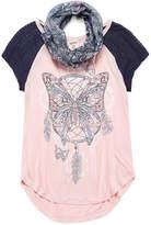 Arizona Short Sleeve Raglan Top w/ Scarf 2fer - Girls' 7-16 and Plus