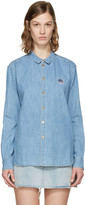 Kenzo Blue Denim Tiger Crest Shirt