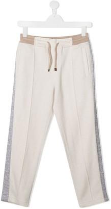 BRUNELLO CUCINELLI KIDS Colour Block Drawstring Trousers