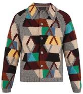 Prada Geometric-intarsia wool cardigan
