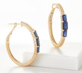 Judith Ripka 14K Gemstone 1/8 Carat Diamond Hoop Earrings