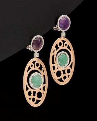 Italian Gold 14K Rose Gold 12.80 Ct. Tw. Diamond & Gemstone Clip Earrings