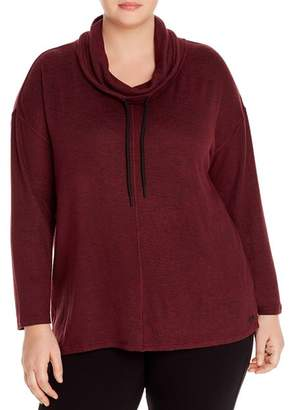 Andrew Marc Plus Knit Funnel-Neck Top