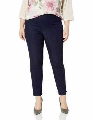 NYDJ Women's Plus Size Pull On Skinny Ankle Jean with Side Slit