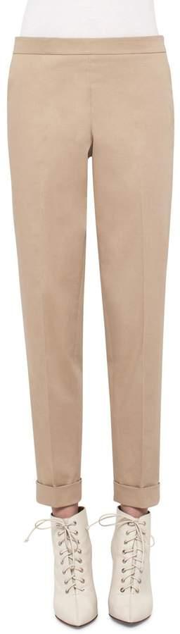 Akris Manuela Stretch-Cotton Pants, Camel