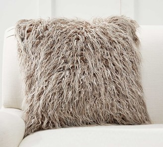Pottery Barn Mongolian Faux Fur Ombre Tipped Pillow Cover