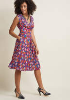 Pleated of Energy Midi Dress in Buds in L - Cap A-line by ModCloth