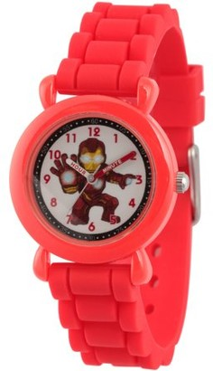 Marvel Super Hero Adventure Iron Man Toddler Boys' Red Plastic Time Teacher Watch