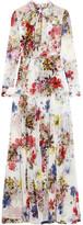 Erdem Denise Floral-print Silk-chiffon Gown - White