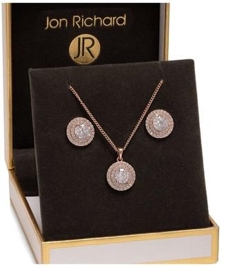 Jon Richard Jewellery Jon Richard Rose Gold Plated Double Halo Set - Gift Boxed
