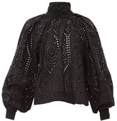 Ganni Tie-neck Broderie-anglaise Cotton Blouse - Womens - Black