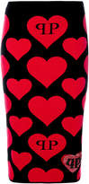 Philipp Plein heart intarsia-knit skirt