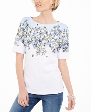 Karen Scott Floral-Print Boatneck T-Shirt, Created for Macy's
