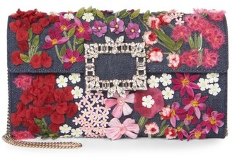 Roger Vivier Broche Floral Applique Denim Clutch
