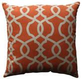 "Pillow Perfect, Inc. Lattice Damask Blue 18"" Throw Pillow, Tangerine"