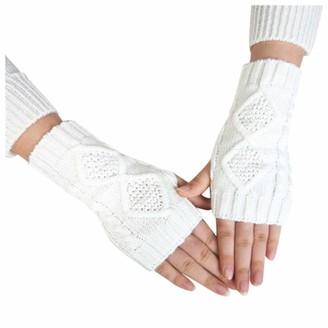 Skag Skang Women Woolen Knitted Rhombus Diamond Decoration Half-Finger Warm Outdoor Cycling Gloves