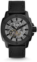 Fossil Modern Machine Automatic Skeleton Black Leather Watch