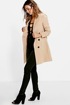 Thumbnail for your product : boohoo Petite Double Breasted Camel Duster Coat