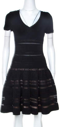 Alaia Black Textured Pointelle Knit Fit and Flare Dress M
