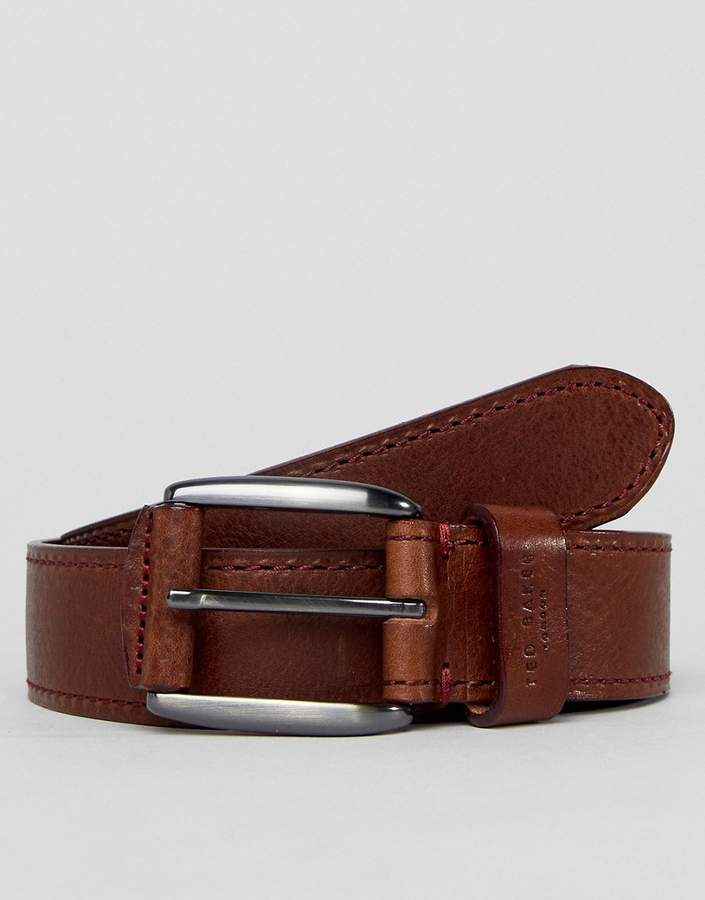 Ted Baker Tirre Leather Belt with Contrast Stitch